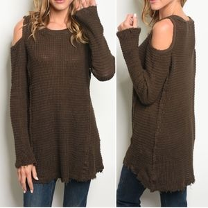 Long sleeve cold shoulder knit sweater